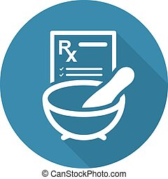 medicina, plano, icon., farmacia, design.
