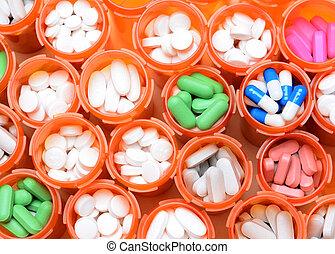 medicina prescrição, garrafas