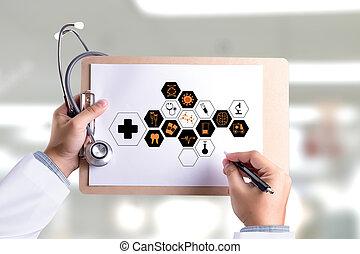 medicina, profesional del cuidado médico, doctor, mano, trabajando, con, moderno, computadora, interfaz