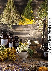 medicina, remedio, natural, alternativa, mortero