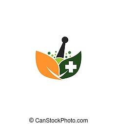 medicina, símbolo, vector, herbario, icono
