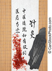 medicina, safflower, chinês