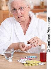 medicina, toma, mujer, más viejo