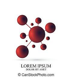 medicina, vector, plantilla, logotype, logotipo, biotechnology., molecule., química, adn, icono, tecnología, ciencia, 3d