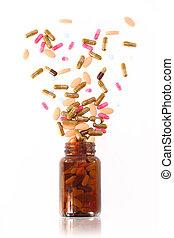 medicina, venga, píldoras, botella, afuera