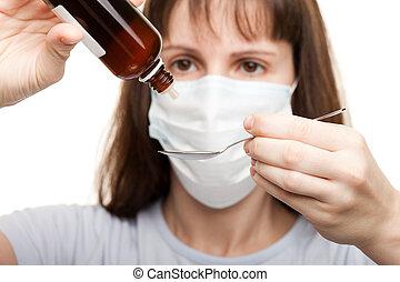 medicina, xarope, máscara, segurando, doutor