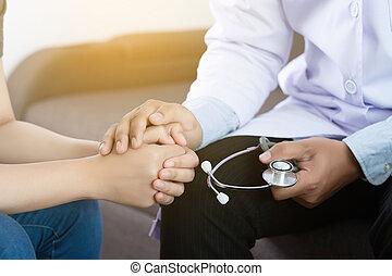 medicina, y, asistencia médica, concepto, parkinson, y, alzheimer, hembra, paciente