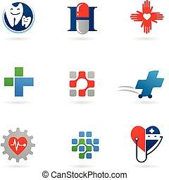 medicina, y, atención sanitaria, iconos