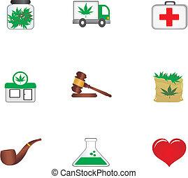 medicinal, cannabis, iconos