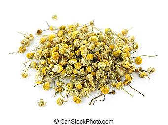 Medicinal chamomile herbs - Pile of medicinal yellow...