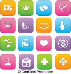 medicinal, estilo, marijuana, plano, icono