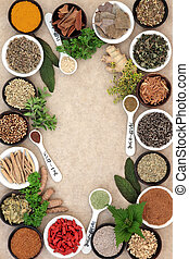 Medicinal Herbs - Medicinal herb and spice selection used in...