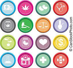 medicinal, icono, marijuana, redondo, conjuntos