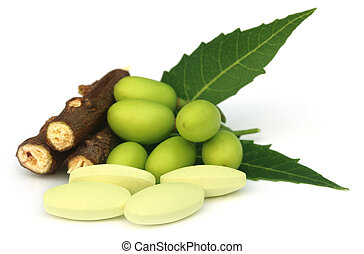 Medicinal neem fruits with tablets over white background