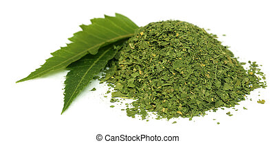 Medicinal neem leaves with dried powder over white...