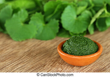Medicinal thankuni leaves - Mashed medicinal thankuni leaves...