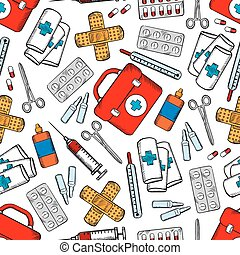 medicinas, e, materiais médicos, seamless, padrão