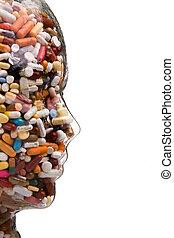 medicinas, e, tabuletas, para, cura, doença