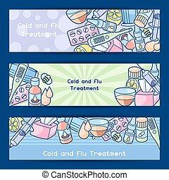 medicinas, médico, gripe, tratamento, objects., gelado, bandeiras