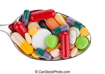 medicinas, tabletas, cuchara