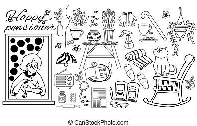 medicine., γάτα , υπάρχοντα , εικόνα , θέτω , εφημερίδα , μικροβιοφορέας , outline., τονόμετρο , houseplants , μαύρο , πολυθρόνα , απομονωμένος , γριά , συνταξιούχος , γυναίκα , άνοιγμα. , βιβλίο