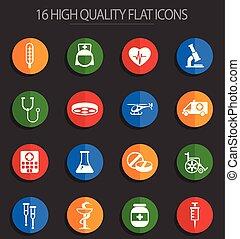 medicine 16 flat icons