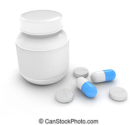 Medicine - 3D Illustration of Pills and Capsules