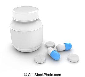 Medicine - 3D Illustration of Pills and Capsules