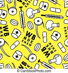 Medicine. Abstract vector seamless pattern