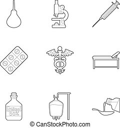 Medicine accessories icons set, outline style