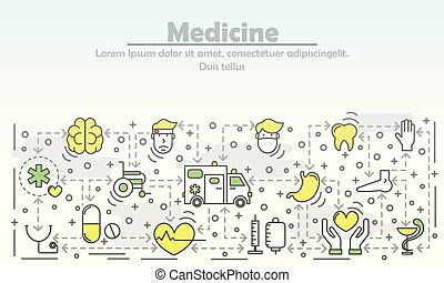Medicine advertising vector illustration. Modern line art flat style design element with medical icons, symbols for web banner and printed materials.