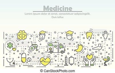 Medicine advertising vector flat line art illustration