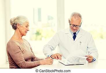 senior woman and doctor meeting