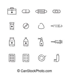 Medicine and equipment with shadow icon outline stroke set dash line design illustration isolated on white background