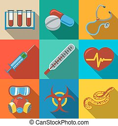 Medicine and health care colorful flat icons set with long shadows on bright plates - stethoscope, heart, thermometer, pills, bio hazard sign, syringe, test-tubes, gas mask, ebola virus. Vector
