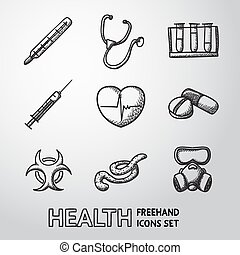 Medicine and health care colorful freehand icons set - stethoscope, heart, thermometer, pills, bio hazard sign, syringe, test-tubes, gas mask, ebola virus. Vector