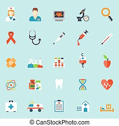 Medicine and health care icons in flat style