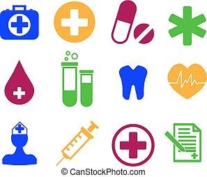 Medicine and Health flat icon set. Vector Illustration.