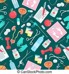 Medicine and health items seamless pattern