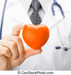 Medicine and healthcare - doctor holding toy heart with two fingers