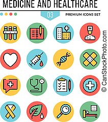 Medicine and healthcare icons. Modern thin line icons set. Premium quality. Outline symbols, graphic concepts, flat line icons. Vector illustration