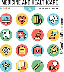 Medicine and healthcare icons. Modern thin line icons set. Premium quality. Outline symbols, graphic concepts, flat line icons. Creative vector illustration