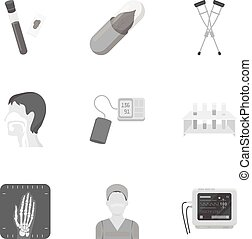 Medicine and hospital set icons in monochrome style. Big collection of medicine and hospital vector symbol stock illustration