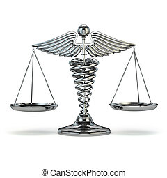 Medicine and justice. Caduceus symbol as scales. Conceptual imag