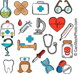 Medicine and medication icons set