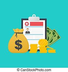 Medicine and money concept. Health insurance form concept. Filling medical documents. Vector illustration.