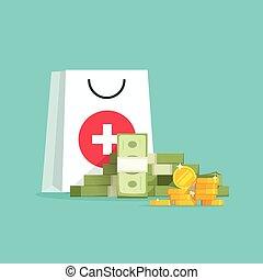 Medicine and money vector concept illustration, flat cartoon...
