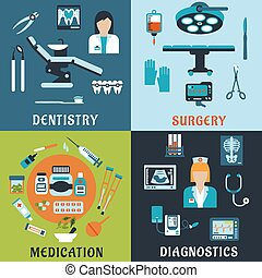 Medicine and pharmacology flat icons