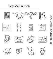 Medicine and pregnancy vector line icon - Pregnancy and...