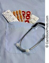 Medicine and stethoscope 2